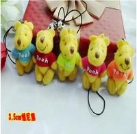 Free shipping Fashion Pendant 50pcs/lot  3cm  Mini Joint Bear Bare Joint Bear Doll Cell Phone  Cartoon Plush Stuffed Toy Doll