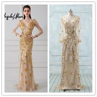 Real Photos Vintage Handmade Beads Sequins V Neckline Long Sleeve Evening Dress(EVAA-41018)