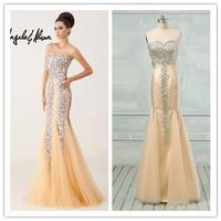 Real Photos Sexy Crystals Sweetheart Neckline Tulle Sheath Evening Dress(EVAA-41008)
