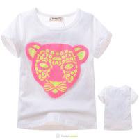 2014 New Children Unisex Leopard T shirt Boys Girls Summer White O-Neck Short T-shirt Kids Pink Panther Fashion Cotton Tee Shirt