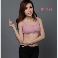 wireless quinquagenarian single-bra underwear 100% cotton sports sleeping pure cotton vest front button plus size bra