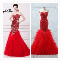 Real Photos Luxury Hot Sweetheart Neckline Tulle Red Mermaid Evening Dress(EVAA-41046)