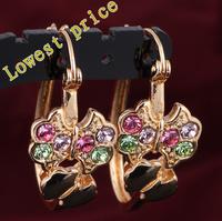 Zirconia 18k gold plated Color Crystal Hoop Earrings Vintage women earrings Health Nickel & Lead free Fashion jewelry JE544