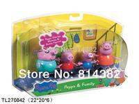 4pcs/lot With Retail Box New 2014 Free Shipping Peppa Pig Toys Family Papa Toys Mum Bro Peppa Vinyl Doll 22*20*6cm Action