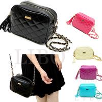 2014 Fashion Lady Women Cute Retro Rhombus pu Leather Handbag lattice Shoulder Clutch With Chain Messenger Bag purse  bolsa