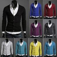 Free Shipping Men's Knitwear Cardigan Fake Slim Casual Sweater Coat M L XL XXL Wholesale