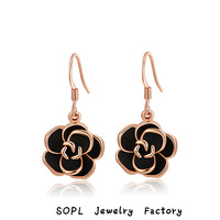 ROXI Jewelry lovely best quality rose earrings Gift to girlfriend is the most beautiful,Pure hand-made bring  different elegant