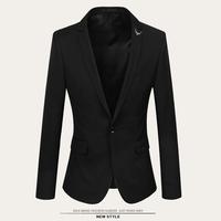 асимметричный дизайн моды мужчин тонкий пиджак новая мода Хань издание стенд воротник чистый цвет мужских костюмов
