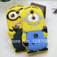 For Samsung Galaxy S4 mini 3D Cute Despicable Me Minion Soft Rubber Silicone Cases Back Cover For Samsung i9190 case 1pcs/lot