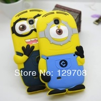 For Samsung Galaxy S4 mini 3D Cute Despicable Me Minion Soft Rubber Silicone Cases Back Cover For Samsung i9190 case 1pcs/lot