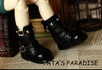 Free Match Black Cool Rivet Boots for BJD 1/6 YOSD Luts DOD AS DZ Doll Shoes
