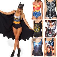 RESUN KNITTING black milk brand Batman Cape Suit women 2014 digital print fashion cloak sexy one-piece swimsuit Drop shipping
