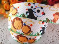 "2014 new arrival 7/8"" (22mm) animals printed grosgrain ribbon cartoon ribbons cloth tape 10 yards WQWQ14040914"