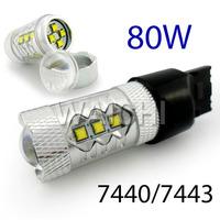 Hot!  80W led Canbus  High power CREE  LED Chip Fog lights 7440 T20 H11 Bright LED Car Daytime Running Light Fog Light DRL Bulb