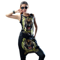 2014 Women's new Summer Large Size 2 Piece Sport Suit Animal Tracksuits Sportswear Top Set Women O-Neck tiger print Clothing set