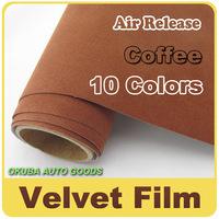 Hot Sale Coffee Pean Skin Velvet Fabric Vinyl Car Wrap Film Car Sticker 1.35m*15m(4.4ft*49ft)