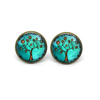 Wholesale Glass Dome Necklace Bronze Tree Earrings Post Earrings. Studs. Bronze. Art. Girls Earrings. Handmade Jewelry