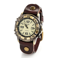 2014 New Unisex Womens Mens Vintage Big Number Dial Cow Leather Band Quartz Analog Wrist Watches (Assorted Colors)