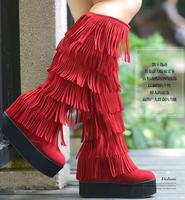 Free shipping  high-leg boots autumn and winter flat elevator thangka tassel women's boots.