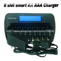8 slot smart AA AAA NIMH rechargeable batteries lcd charger with discharger Capacity repair activation function