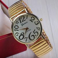 New Arrival Fashion Golden Watch GENEVA Watch For Women Dress Watch Quartz Watches 1piece/lot