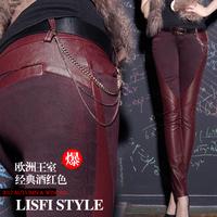 S-5XL ! Plus size slim fashion female brand sexy denim patchwork leather pants skinny pencil pants women trousers, FREE shipping