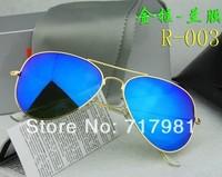 Free shipping Hot 1pcs Men's Women's Designer Sunglasses Gold Frame Iridium Blue Lens 58mm With Box Case all