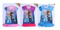 2014 New Frozen Elsa night gown dress Princess cute girl summer nighty Clothing Anna dresses 1 Piece retail