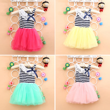 Free shipping 2015 New summer Striped cotton Material Bow  Lace Baby Sleeveless dress girls dresses A224(China (Mainland))