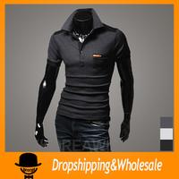Free Shipping Mens slim fit casual short sleeve polo shirts Mens brand stylish v neck polo shirts  X-240