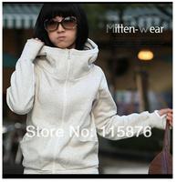 New 2014 HOT Cheap Women Long Sleeve Hoodie Cardigans Coat Glove-Sleeve Full zipper Sports wear Track Hoodie Sweatshirt 4 Color