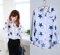 fashion women zara2014 women clothing  Star pattern loose blouses cotton printed blouse shirts tops for women female shirts 286