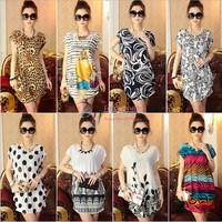 New 2014 women summer dresses flower totem printing Slim short-sleeved women's dress