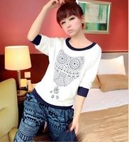 supernova sale 2014 animal pattern printed half sleeve shirt tops Spring summer fashion white women's t-shirt women owl in stock