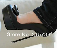Black Sexy women's pumps with bowkot,metal heels 14CM,can be made size 35-47