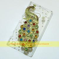1 Pcs Handmade Bling Diamond Peacock Clear Transparent Hard Back Case Cover For Nokia Lumia 720