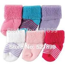 6pairs/lot  USA Luvable Friends 6-Pack Baby Newborn Socks 0-3M, Cotton Baby Socks Market Baby Free Shipping(China (Mainland))