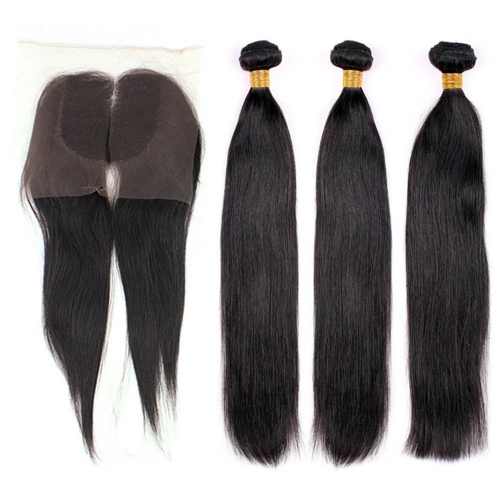 5A Brazilian Virgin Hair 3pcs Human Straight Hair Weave Mixed length With 1 pc Lace Closure 4pcs lot Crazyqueen Hair(China (Mainland))
