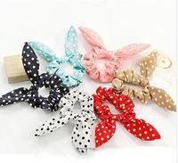 Sunshine Cute Dot Rabbit Ear Headband Hair Rope / Bow Hair Ties Band Ponytail Holder hair ring hair ornament 10pcs/lot R-311