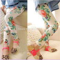 Kids Girls Peony Pattern Trousers Underwear Leggings Pants Girls 2-7Years Drop Free shipping