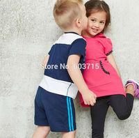 Retail children boys fashion cotton stripe sport suit cloth set children cloth set kids summer two pcs set children clothing set