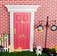 1:12 Doll house Miniature Wood Painted Dark Pink Exterior Door W/ Metal Accessories 30 PCS Wholesale