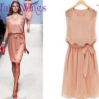 Women New 2014 Spring Summer Dresss Fashion Pleated Chiffon Beads Bow Casual Sleeveless Knee Length Dress Plus Size XXL PH1238