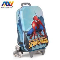 Spiderman 3 Wheels 3D Trolley School Bags for Boys Mochilas Kids Cartoon Wheeled Backpack Children Rolling Luggage FreeShip