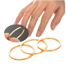 5PCS/Set Hot Sell Punk Urban Gold stack Plain Above Knuckle Ring Band Midi Mid Finger Ring Women Jewelry(China (Mainland))