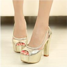 fashion women high square heel platform pump shoes women pumps summer golden / silver(China (Mainland))