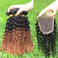 Cheap Peruvian virgin hair kinky curly two tone 1b/30 free part lace closure with 3PCS Ombre hair bundles 5A SunnyQueen hair