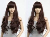 Free ship fashion synthetic  Dark Brown Full Lace Wig women Long Wavy Hair