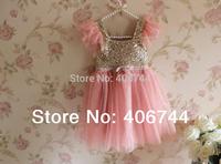 Free Shipping 1 lot /5 Kids ,2014 sequin princess dress , girl shining dress ,ALLL01 girl  cute dress