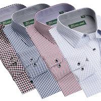2014 New Style men's fashion plaid Evening dress shirt men's Long-Sleeve Cotton Dress Shirts Size:S-5XL free shipping
